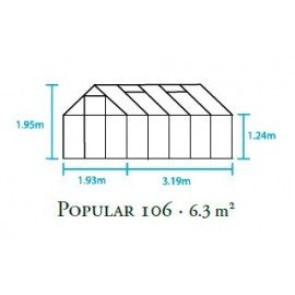 Halls Popular 106 m/4 mm poly Drivhus- 6,2 m²