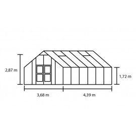 Gartner 16,2 m² antracitgrå m/ 10 mm polycarbonat