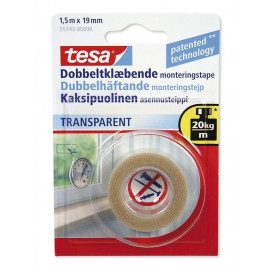 Tesa Dobbeltklæbende Tape - Transparent 1,5mx19mm