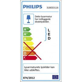 Philips MyLiving Suede væg- og loftslampe LED, Hvid 4x10W